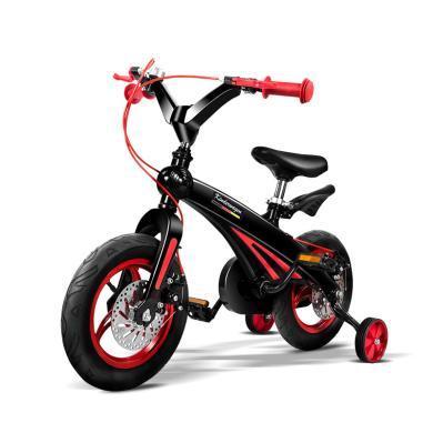 POUCH 帛琦 儿童?#20449;?#36890;用自行车儿童山地自行车2-4岁轻便安全B01 黑红色
