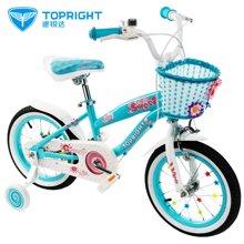 途锐达儿童自行车公主款 18寸 3岁6岁8岁 10岁女孩蓝色童车 甜甜圈