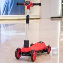 英萊兒 滑板車兒童四輪電動滑滑車2-10歲寶寶腳滑車 噴霧 音樂折疊可調 lhwjc17
