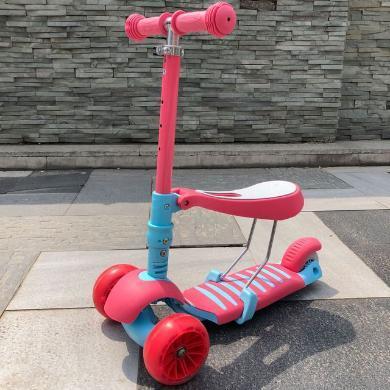儿童滑板车3轮可坐摇摆车宝宝2-4岁滑滑车小孩三合一?#20937;?#36718;扭扭车LXX(备注要粉蓝红)