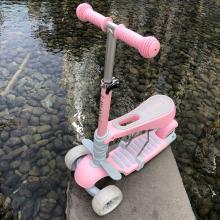 儿童滑板车3轮可坐摇摆车宝宝2-4岁滑滑车小孩三合一闪光轮扭扭车LXX(备注要粉蓝红)