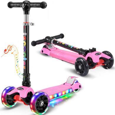 英莱儿溜溜车2-6岁男女孩三轮滑滑车闪光踏板车平衡车初学者儿童滑板车 lhwjc31