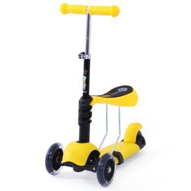 巨森 儿童滑板车2岁宝宝3三轮4四轮三合一滑板车可坐闪光带座多颜色款