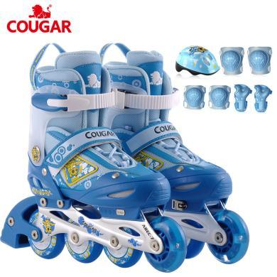 新款儿童全套装前轮?#20937;?#21487;调直排轮滑鞋鞋?#20449;?#23567;牛贝贝 MZS828