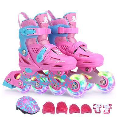 美洲狮(COUGAR)溜冰鞋儿童套装 可调轮滑鞋MZS885