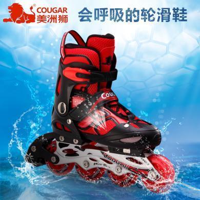 美洲狮溜冰鞋儿童全套装可调单闪男女直排轮滑冰鞋小孩旱冰鞋