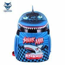 美国raskullz莱斯狐小学生书包双肩男儿童卡通鲨鱼减负幼儿园背包-3-8岁