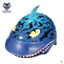 美国raskullz莱斯狐3D兰色JAWZ鲨鱼儿童头盔男女宝自行车溜冰轮滑板护具-小码2-7岁