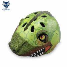 美国raskullz莱斯狐3D-REX绿色恐龙儿童头盔自行车骑行溜冰轮滑滑板护具-小码2-7岁