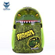美国raskullz莱斯狐小学生书包双肩男儿童卡通绿色恐龙减负幼儿园背包-3-8岁