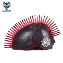 美国raskullz莱斯狐3D兰黑立方体莫霍克儿童头盔自行车骑行溜冰轮滑护具男孩-中码7-14岁