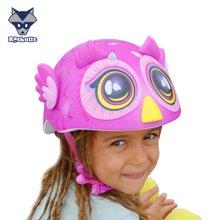 美国raskullz莱斯狐3D粉色猫头鹰儿童头盔男女宝自行车溜冰轮护具-小码2-7岁
