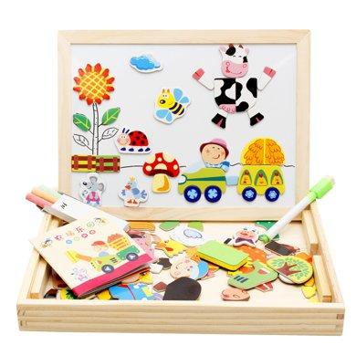 木丸子拼拼樂雙面兒童學習磁性畫板畫架 多功能寶寶拼圖寫字黑板