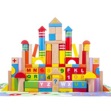 木玩世家全家歡100PCS智力積木兒童益智積木3-6周歲男孩女孩寶寶拼裝積木玩具1-2周歲 Q002+
