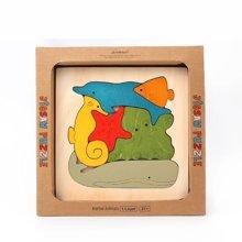 美乐 儿童拼图动物木质多层立体拼图 拼板创意幼儿益智木质拼图