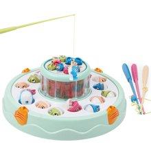 贝恩施儿童音乐灯光磁性钓鱼盘 电动玩具套装益智玩具