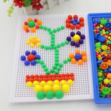乐心多 创意296粒蘑菇钉玩具 拼插板组合 幼儿园儿童巧巧钉拼图3-7岁 jmpc29
