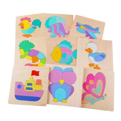 木制益智兒童拼圖拼版動物 昆蟲 早教拼圖玩具