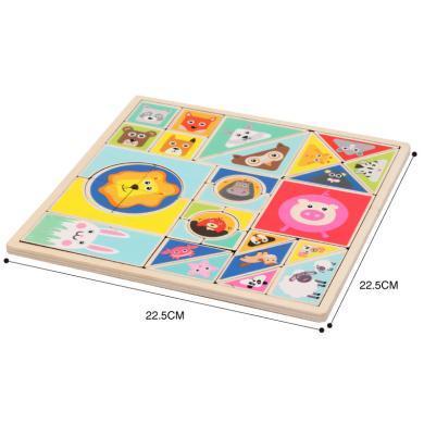 歐易 兒童拼圖木質3D立體動物認知寶寶1-6歲認知早教拼板益智力玩具