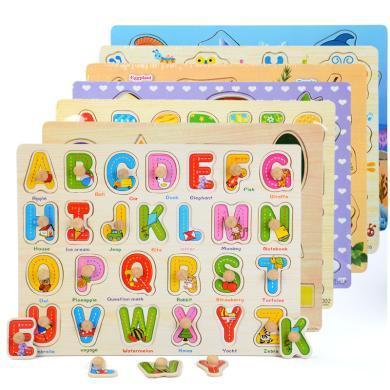 樂心多 手抓板拼圖兒童早教益智力木制玩具數字字母水果幾何形狀 jmpc30