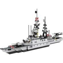 儿童拼插DIY玩具男孩六合一轻型护卫舰警察军事系列儿童拼装积木玩具WES91013