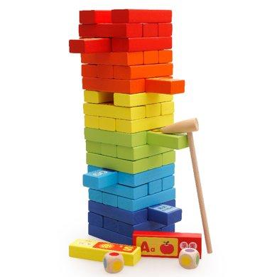 木丸子疊疊高積木大號木制彩色60片認知疊疊樂益智玩具