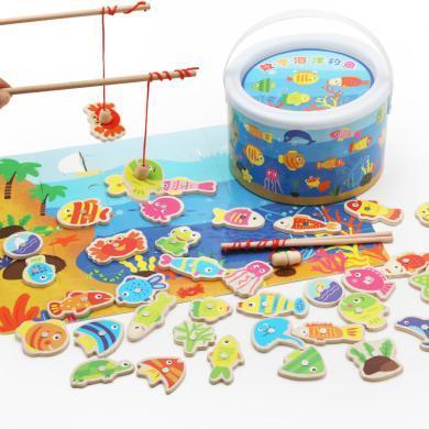 木丸子益智釣魚玩具 數字海洋40條魚木制兒童玩具