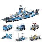 儿童益智玩具男孩子拼装积木合体组装军事系列军舰礼物拼插积木WES91017