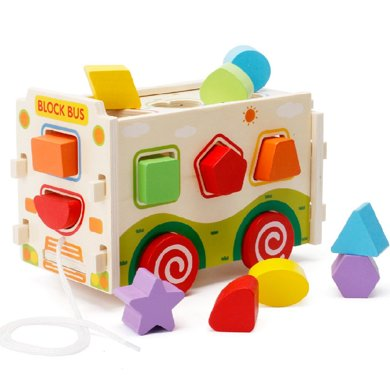 兒童木制拆裝積木拉車男孩女寶寶早教益智形狀配對1-3-6周歲玩具