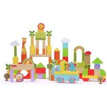 美国FisherPrice费雪50/100粒森林积木 木制积木益智玩具1-2岁3-6周岁男女孩儿童婴儿宝宝FP6004