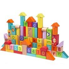 美国FisherPrice费雪80粒益智积木 启蒙积木玩具益智榉木制婴儿儿童宝宝1-2岁3-6周岁男女孩FP6002