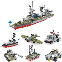 儿童积木拼接玩具军事6合1驱逐舰益智拼装积木玩具坦克军舰飞机积木WES91016