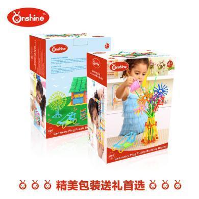onshine 聰明棒塑料幾何形狀拼插玩具益智積木 創意玩具