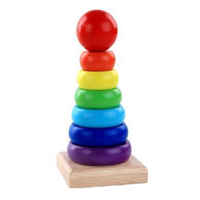 歐易小號木制彩虹塔疊疊樂套圈1-2-3歲寶寶嬰兒早教益智玩具
