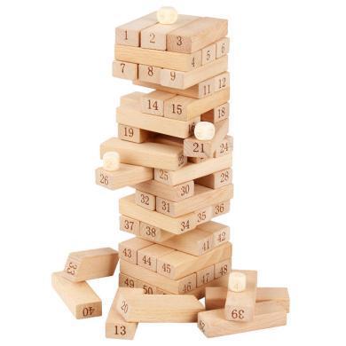 歐易櫸木大號51粒疊疊高層層疊木制積木抽抽樂親子益智桌面玩具