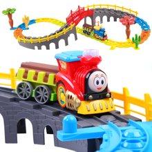 贝恩施 大型积木式轨道火车电动音乐套装益智儿童玩具