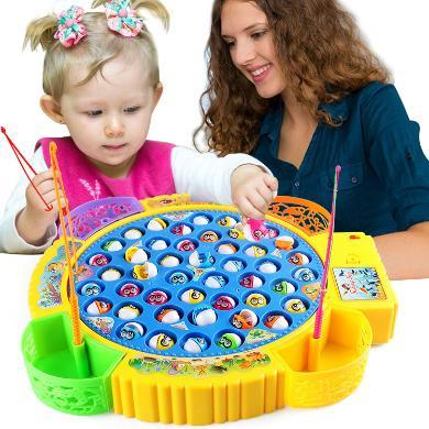 儿童钓鱼玩具 电动旋转钓鱼套装 亲子互动宝宝益智玩具YZQD20222