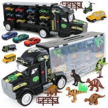 兒童大貨車收納塑料卡車大拖頭恐龍運輸車玩具大氣手提貨柜加12車YZQD-LA-019D+12HJ