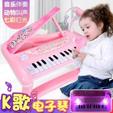 儿童手提式电子琴宝宝婴幼儿早教益智音乐钢琴玩具男女孩0-1-3岁6YZQD2032