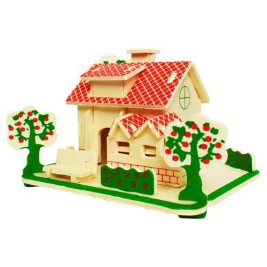 樂心多 木質建筑DIY立體拼圖 兒童益智手工拼裝玩具 木制小屋仿真3D模型 yrwj48