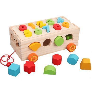 歐易兒童早教數字顏色認知形狀配對幾何積木拖車智力盒木制益智玩具