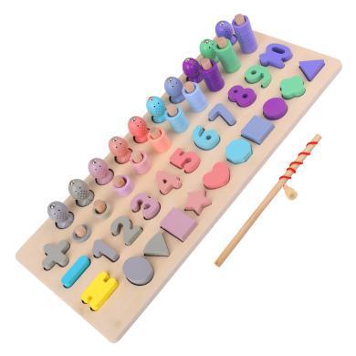 马卡龙数字 形状四合一对数板 钓鱼玩具幼儿园学数学木制