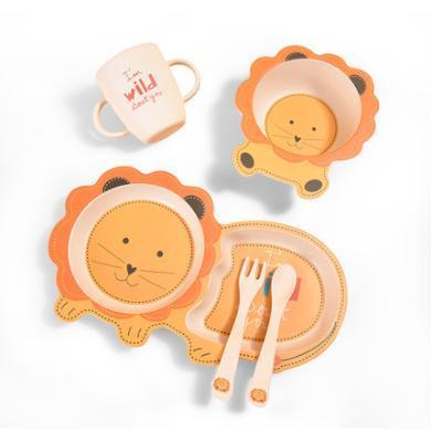 澳樂兒童竹纖維餐具水果盤分格餐盤嬰兒飯碗碗叉勺子套裝5件套