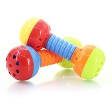 婴侍卫婴幼儿卡通小哑铃哑铃组合手握哑铃摇铃玩具两个装颜色随机YSWC113