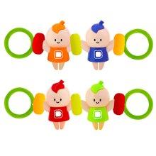 婴侍卫宝宝趣味手拉摇铃玩具卡通摇铃婴儿益智类锻炼手臂力两个装颜色随机YSWC108