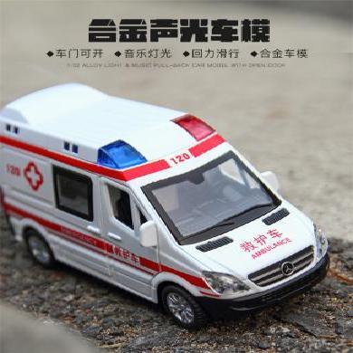 救護車合金車模110警車模型回力車仿真汽車模型兒童玩具SM19022603