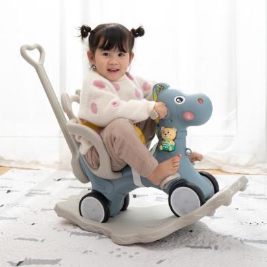 樂心多 兒童室內多功能玩具木馬搖搖馬寶寶嬰幼兒音樂多用塑料禮物小推車 yrwj34