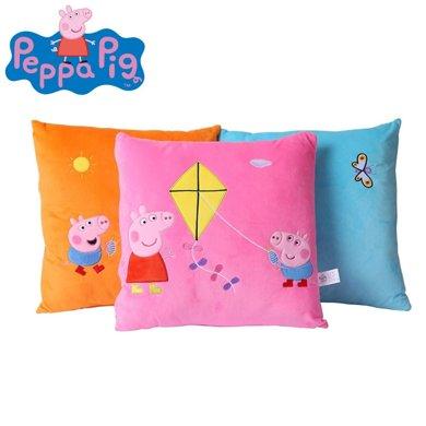 正版小豬佩奇刺繡抱枕粉紅豬小妹佩佩豬親膚毛絨沙發枕頭方形抱枕