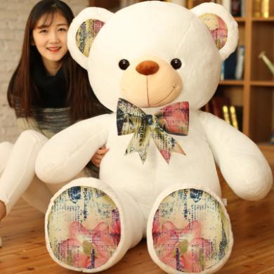 布絨坊毛絨玩具熊復古印花泰迪抱抱熊布娃娃玩偶大號熊貓公仔100CM抱枕YYT031
