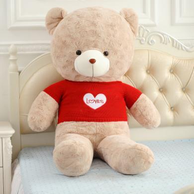 毛絨玩具泰迪熊玫瑰絨毛衣抱抱熊大號熊貓玩偶布娃娃120CM生日禮物送女YYT013